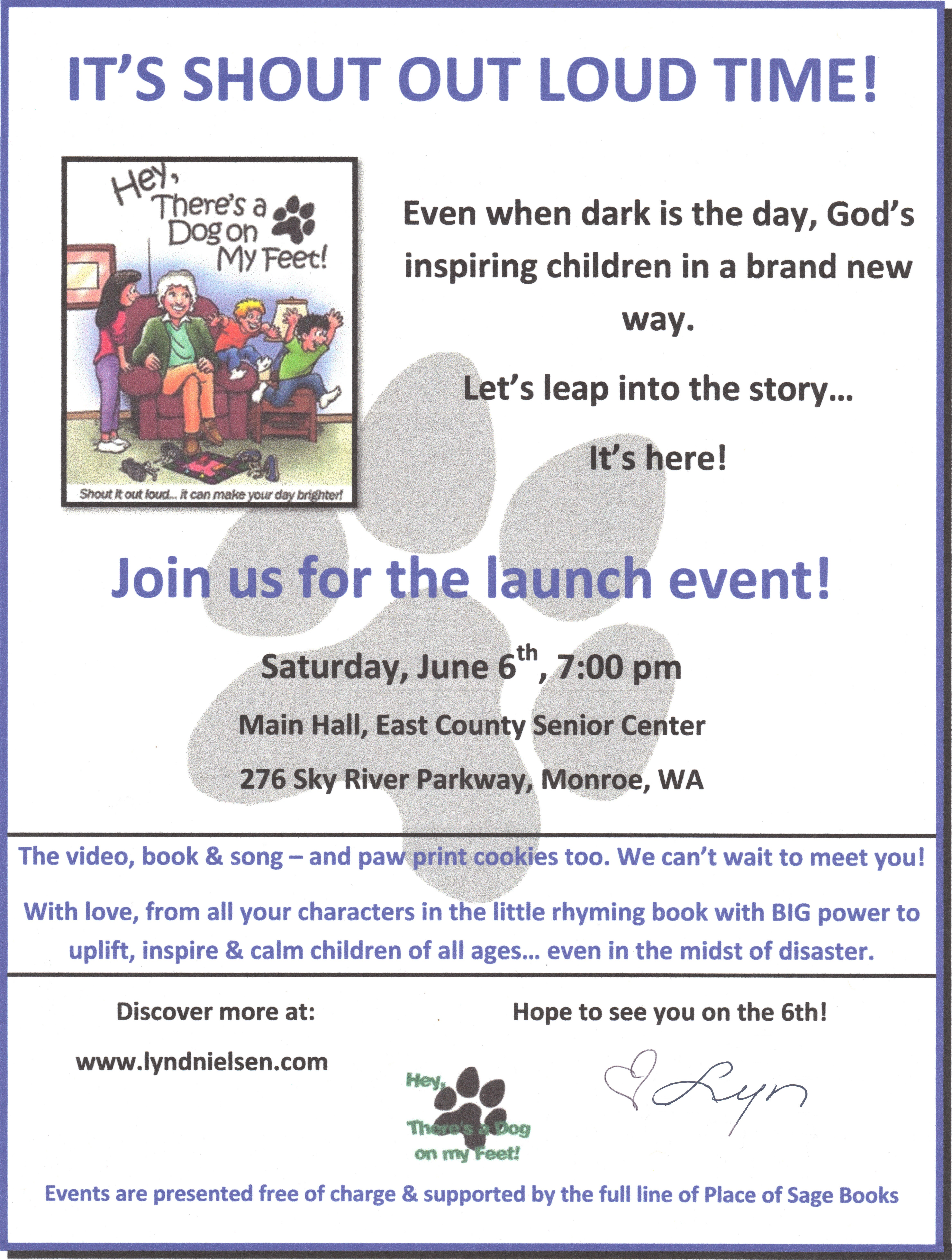 launch event flyer for Hey, There's a Dog on my Feet!